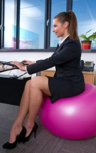 using an exercise ball as your chair |
